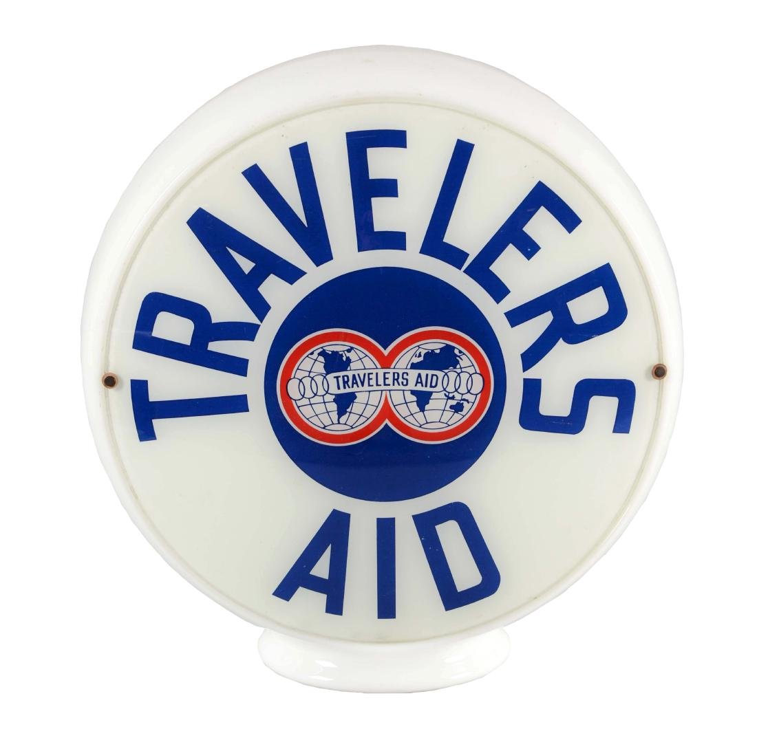 "Travelers Aid 12-1/2"" Globe Lenses On Milk Glass Body."