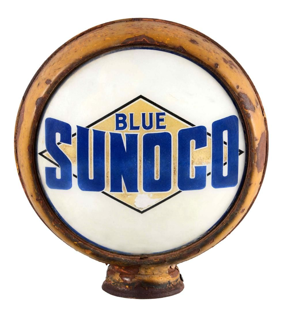 "Blue Sunoco 15"" Single Lens in Original Metal Body."