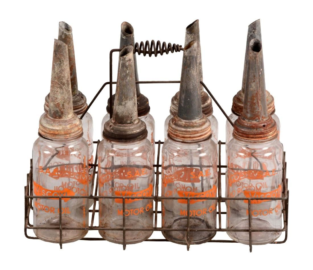 Very Rare Complete Viscoyl Oil Bottle Rack with Eight