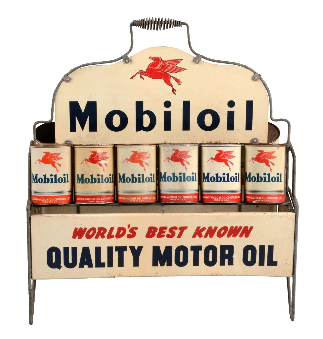 Mobiloil Worlds Best Known Oil Can Rack with Cans.