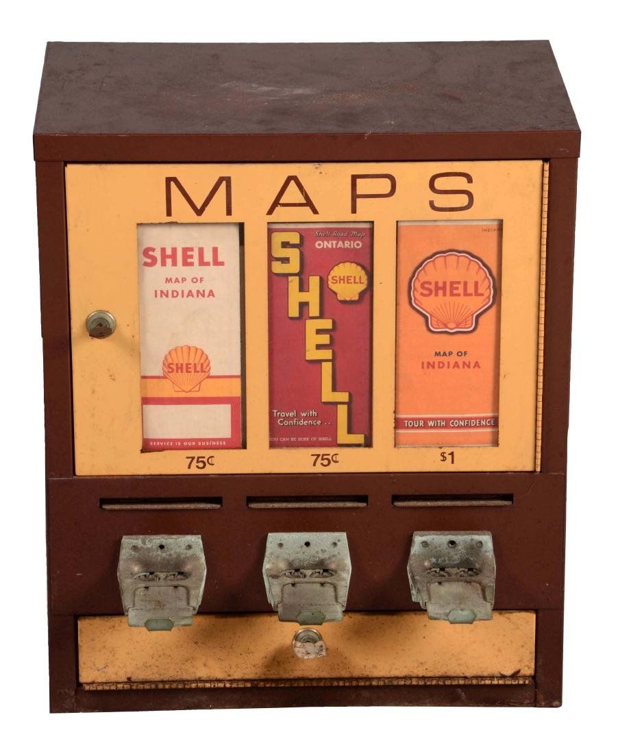 Shell Gasoline Coin Operated Metal Maps Dispensing