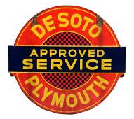 Desoto & Plymouth Approved Service Porcelain Sign.
