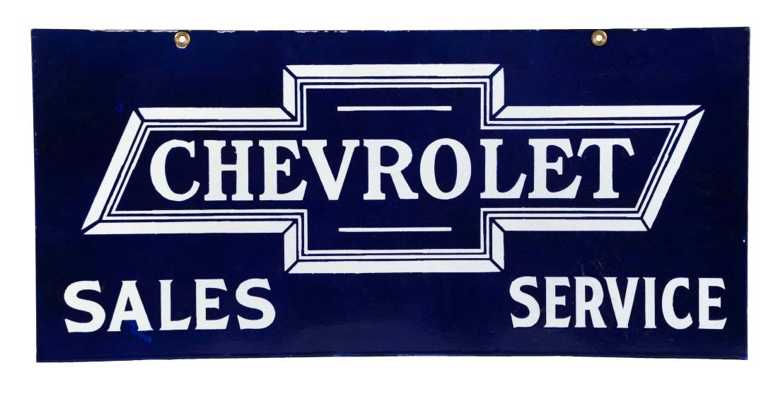 Chevrolet Sales & Service Porcelain Sign.