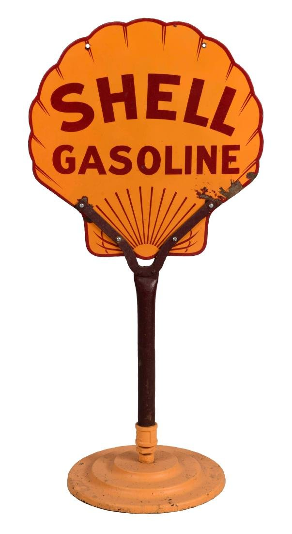 Shell Gasoline Porcelain Sign Mounted On Cast Iron