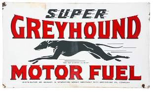 Greyhound Super Motor Fuel Porcelain Sign with