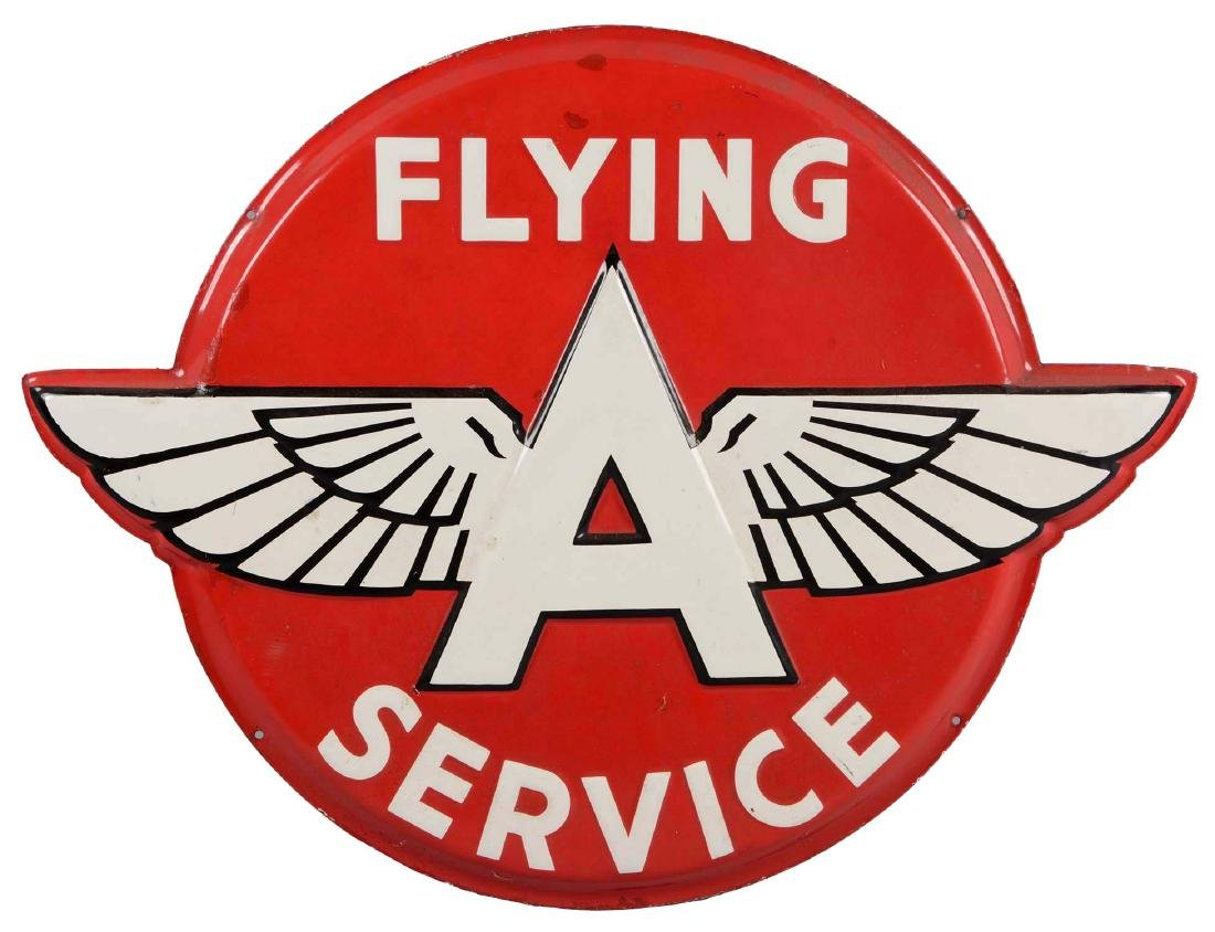 Flying A Service Diecut Embossed Porcelain Sign.