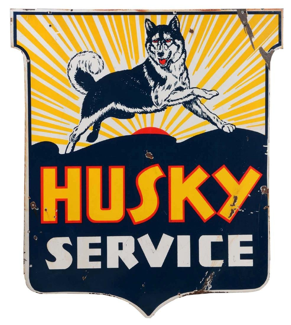 Husky Gasoline Service Porcelain Shield Sign With Dog