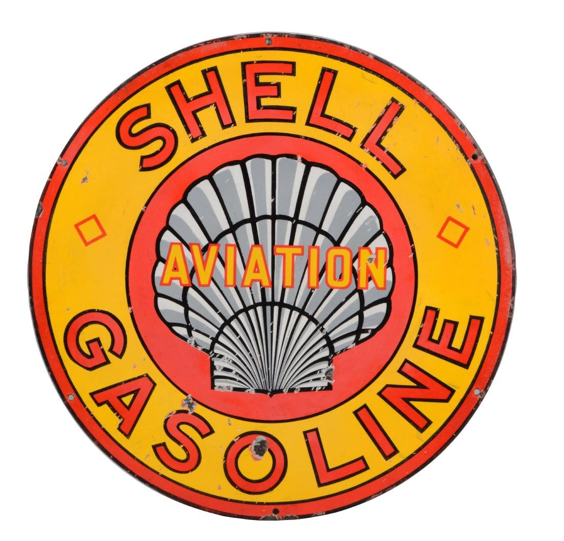 Shell Roxana Aviation Gasoline Porcelain Sign.