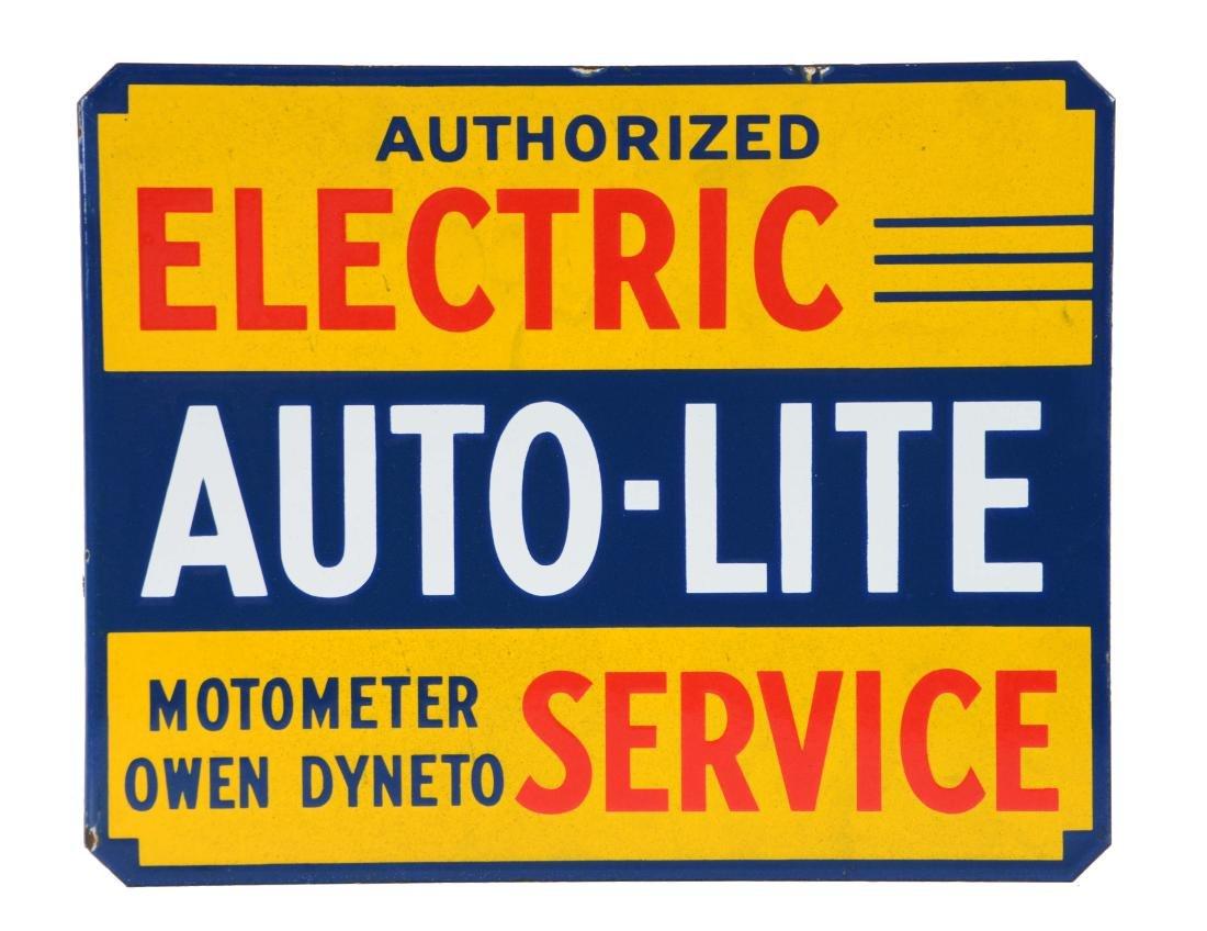 Auto-Lite Authorized Service Porcelain Flange Sign,