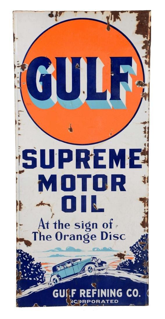 Gulf Supreme Motor Oil Porcelain Lighthouse Sign.