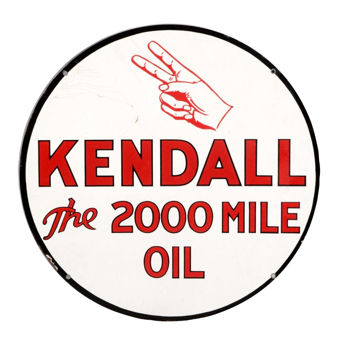 Kendall Motor Oil Porcelain Sign with Hand Graphic.