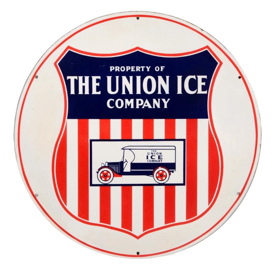 Union Ice Company Porcelain Sign with Early Truck