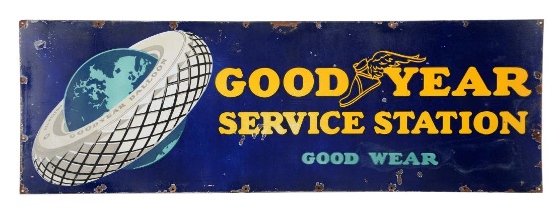 Goodyear Tires Service Station Porcelain Sign with Tire