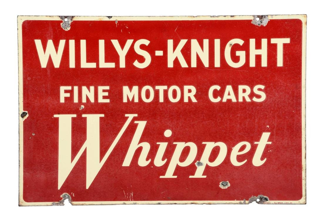 Willys Knight & Whippet Motor Cars Dealership Sign.