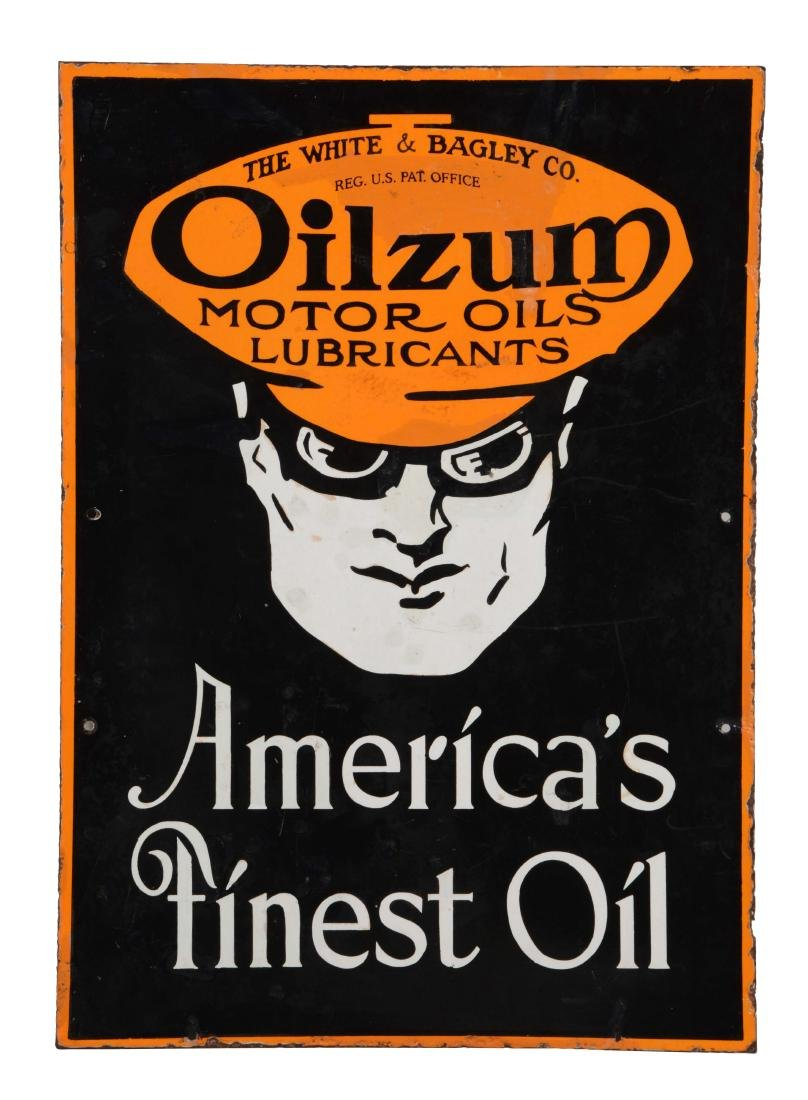 Oilzum Motor Oil & Lubricants Porcelain Curb Sign.