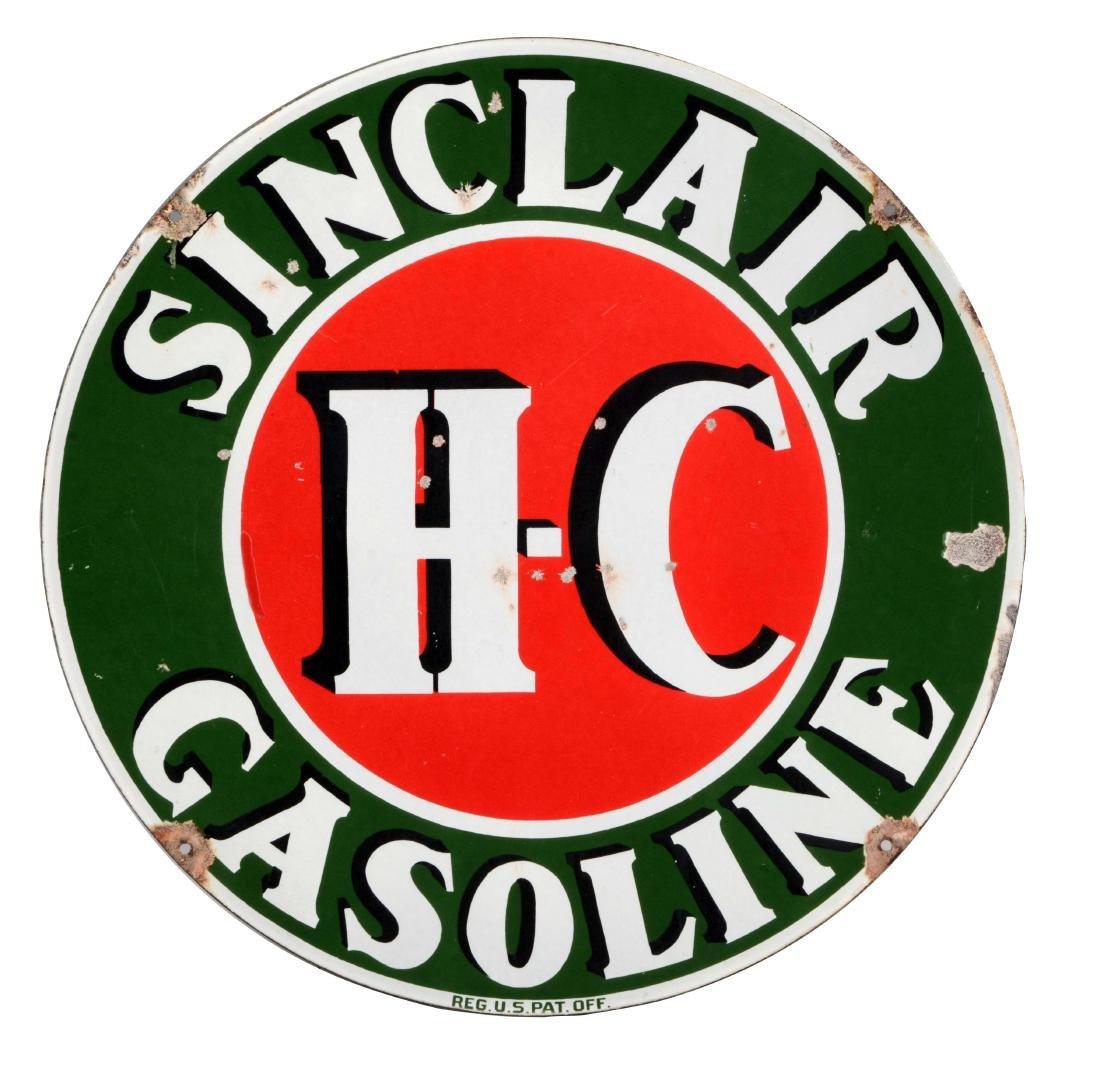 Sinclair HC Gasoline Porcelain Curb Sign.