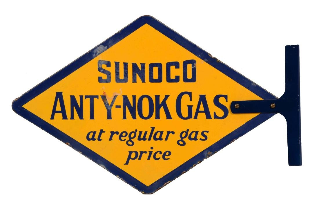 Sunoco Anty-Nok Gas Diamond Shaped Porcelain Sign.