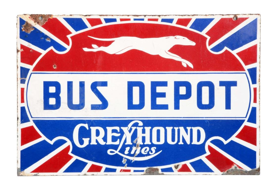Greyhound Bus Depot Porcelain Sign with Dog Graphic.