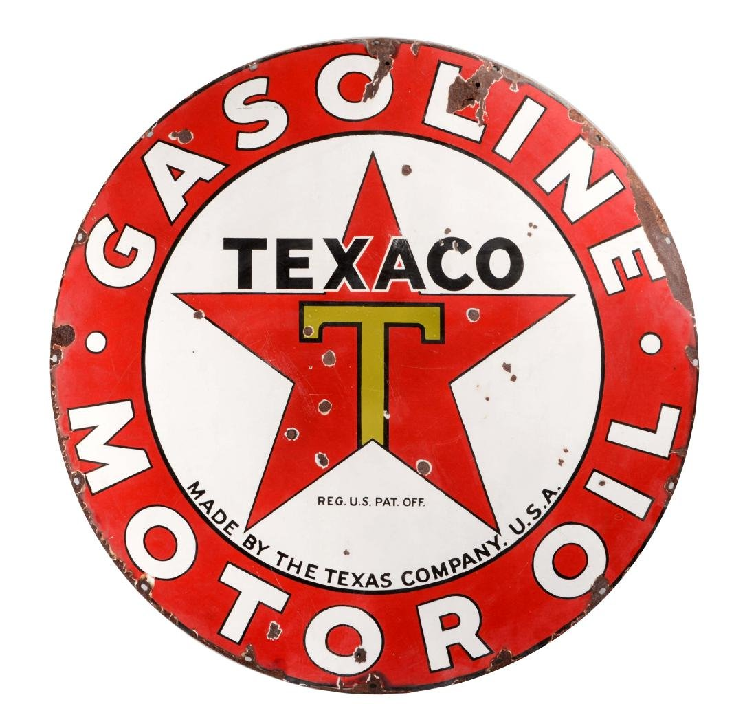 Texaco Gasoline & Motor Oil Porcelain Sign.