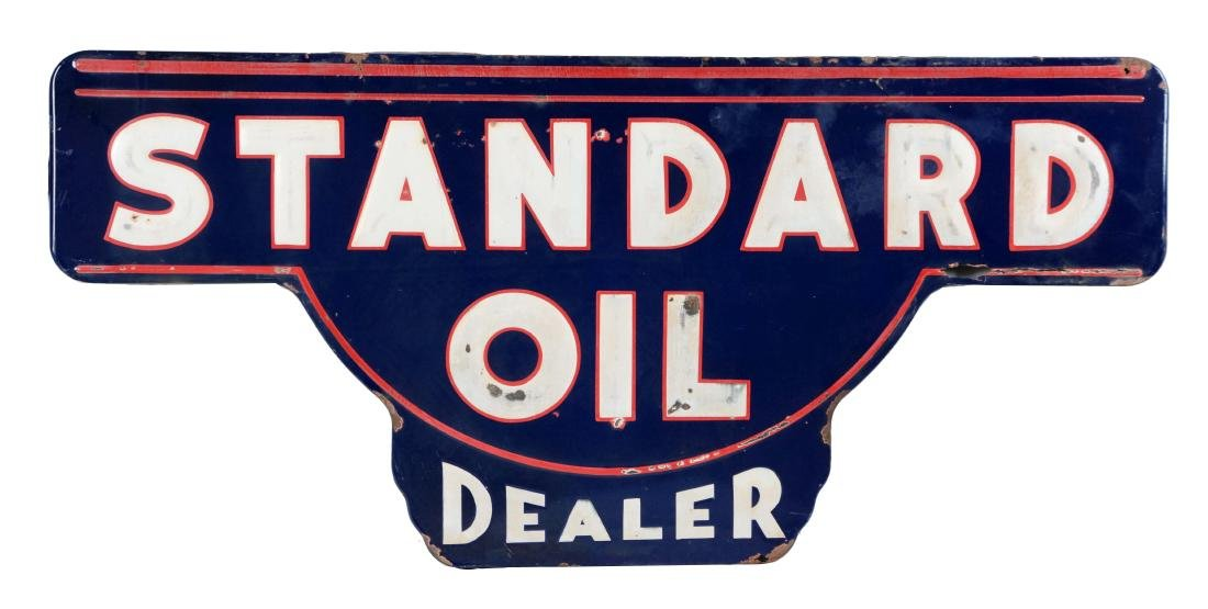 Standard Oil Dealer Embossed Porcelain Sign.