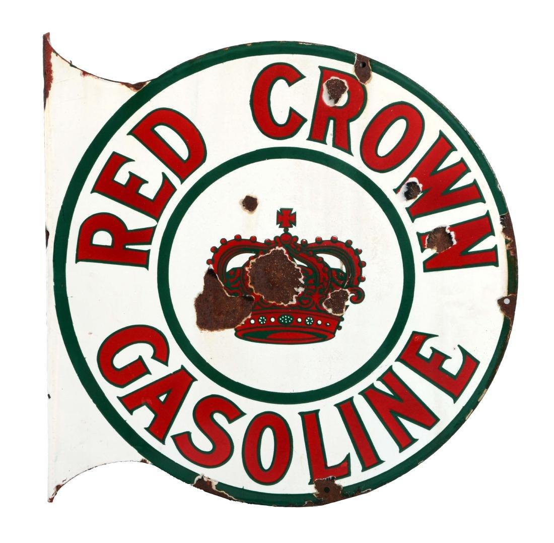 Red Crown Gasoline Porcelain Flange Sign.