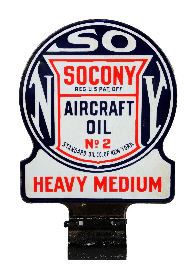 Socony Aircraft Oil No.2 Heavy Medium Diecut Porcelain