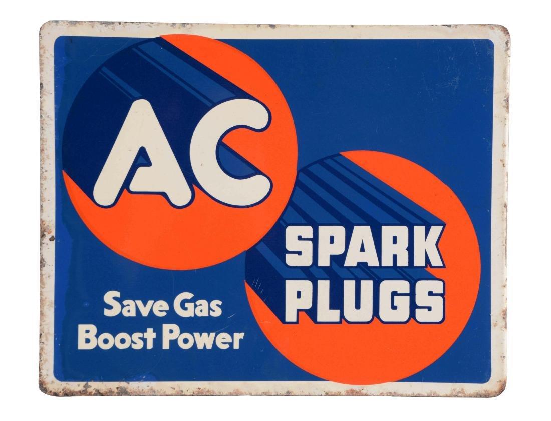 AC Spark Plugs Tin Flange Sign.