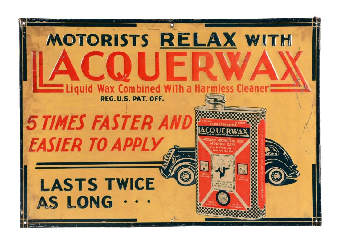 Lacquerwax Cleaner Embossed Tin Sign.