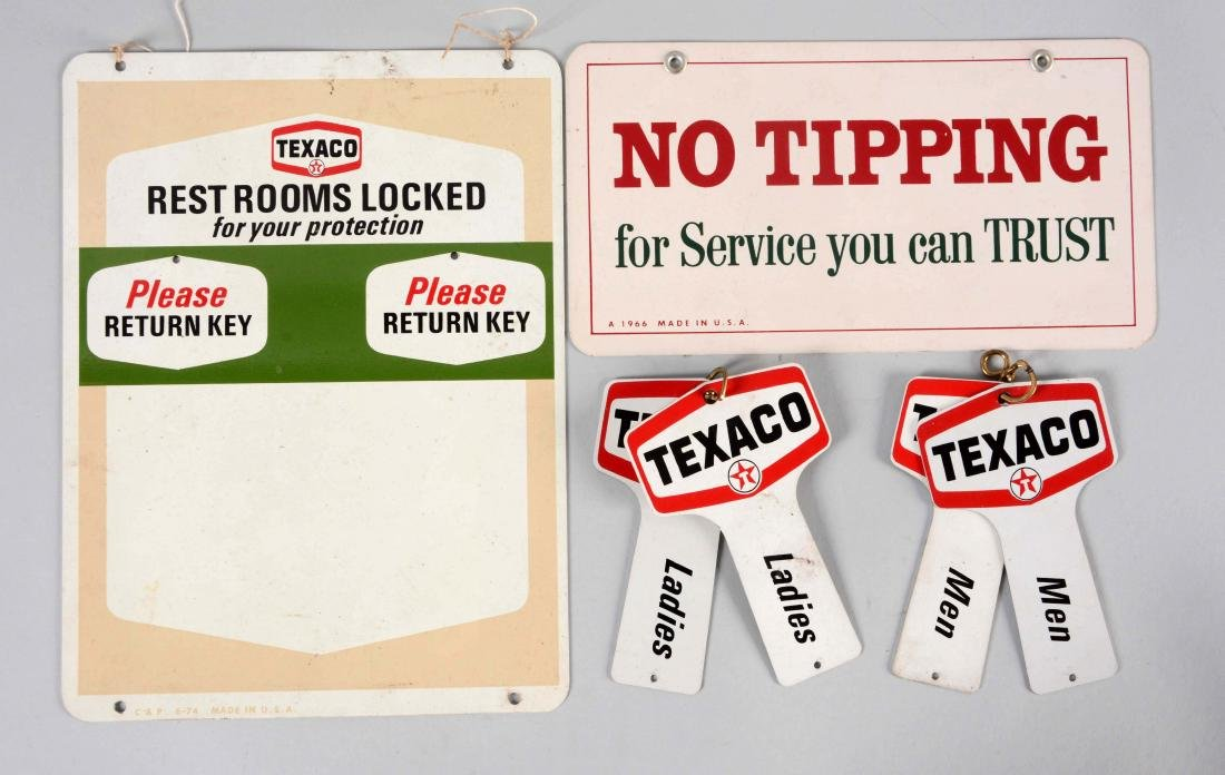 Lot of 2: Texaco No Tipping Tin Sign & Texaco Restroom
