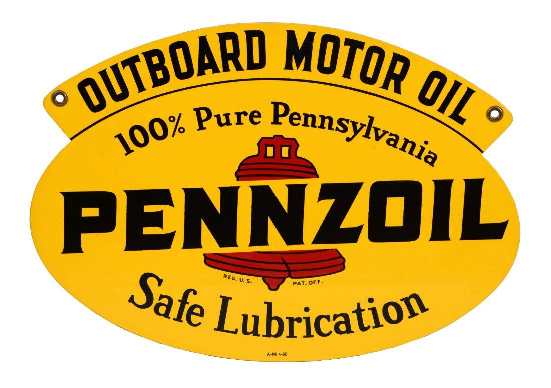 Pennzoil Outboard Motor Oil Tin Rack Sign.