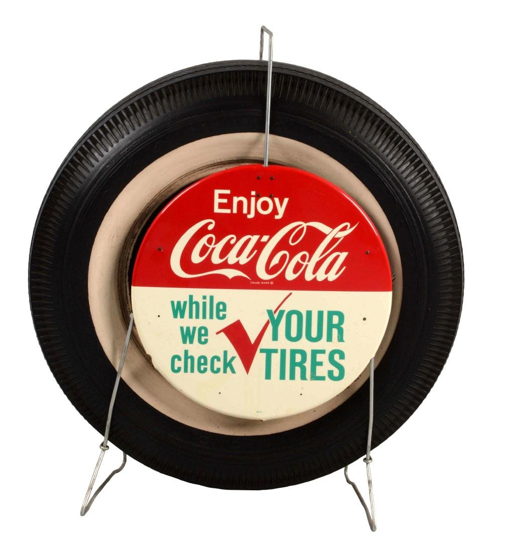Coca-Cola Tin Tire Rack Signs with Tire & Rack.