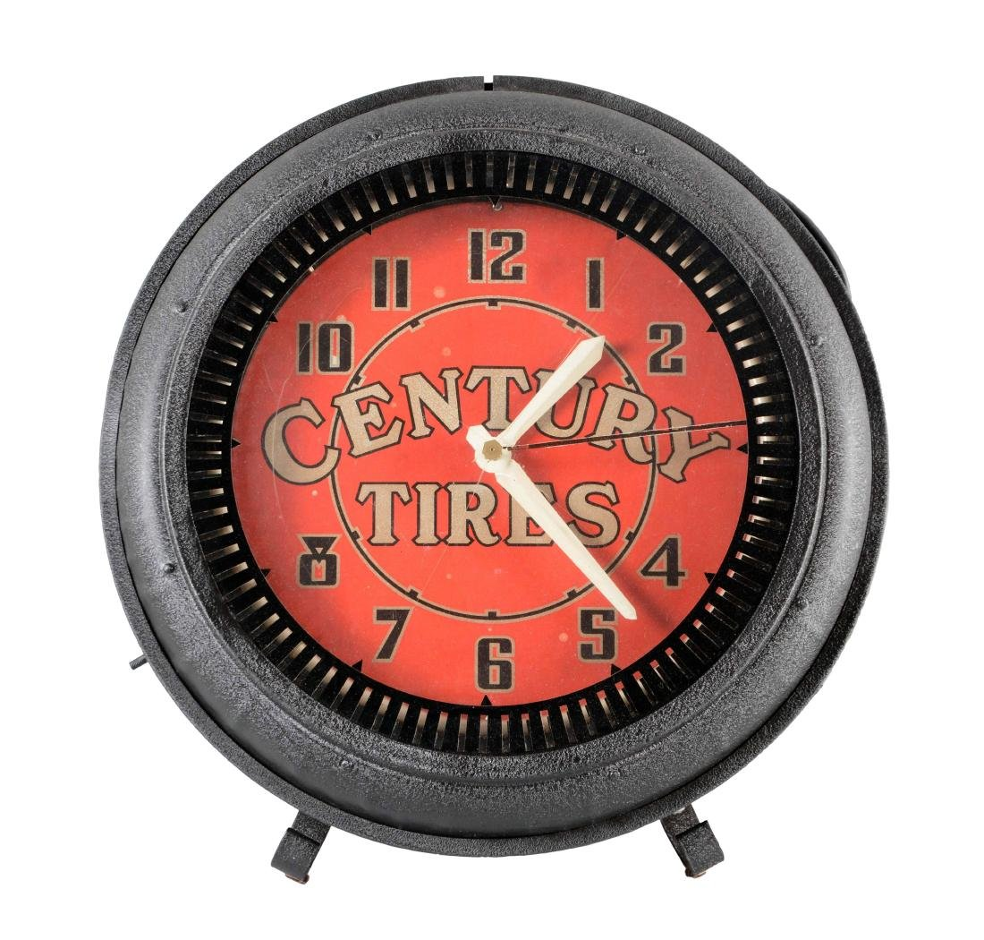 Century Tires Neon Spinner Clock.