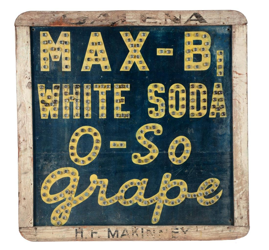 O So Grape Soda Pop Tin Sign with Cat Eye Glass