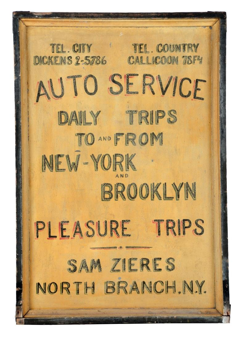 Hand Painted Tin Auto Touring Service Sign For Brooklyn