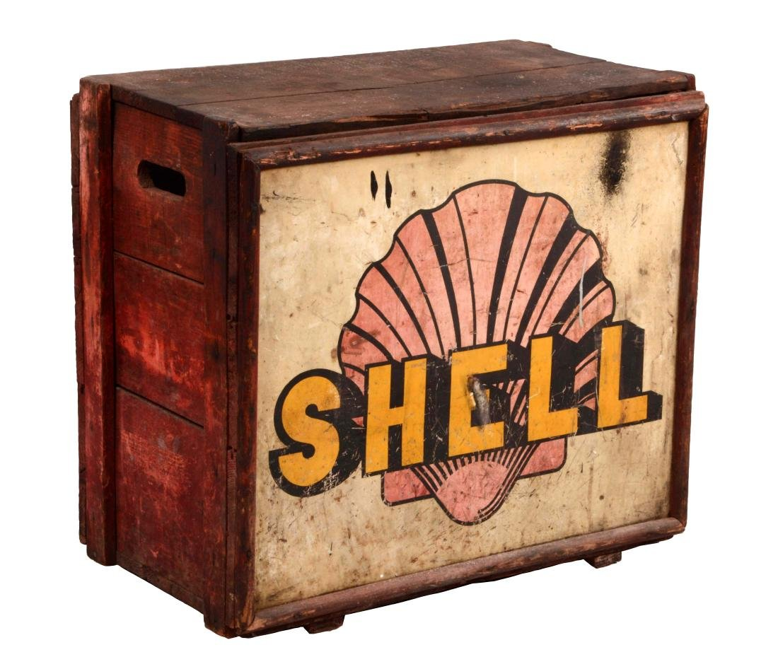 Shell Gasoline Wooden Oil Can Crate.