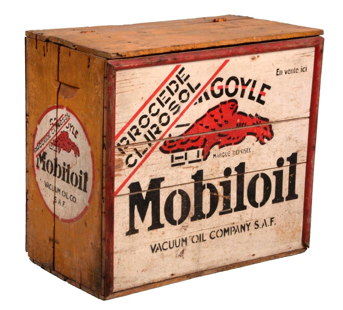 Mobil Gargoyle Wooden Oil Bottle Crate.