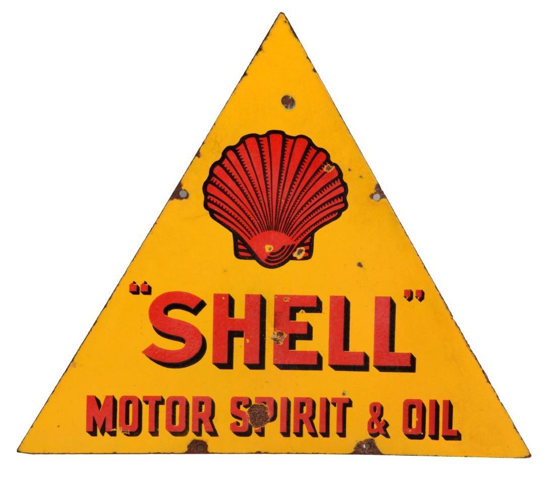 Shell Motor Spirit & Oil Porcelain Triangle Sign.