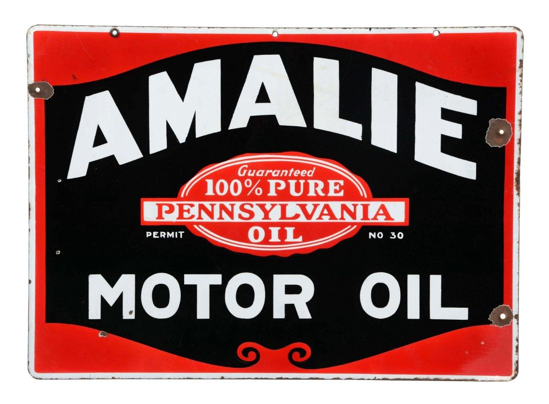 Amalie Motor Oil Porcelain Curb Sign.