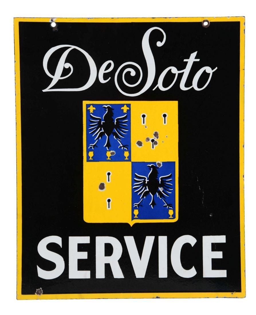 Desoto Service Porcelain Sign with Crest Logo.