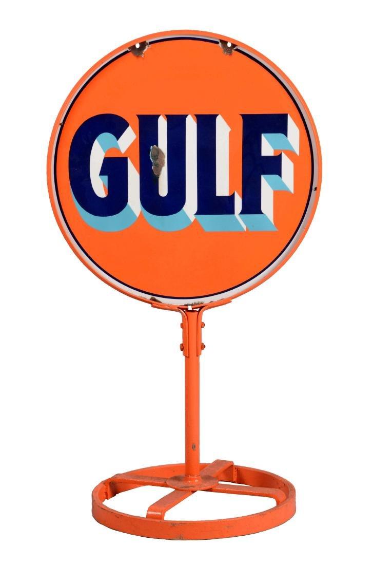 Gulf Gasoline Porcelain Lollipop Sign.