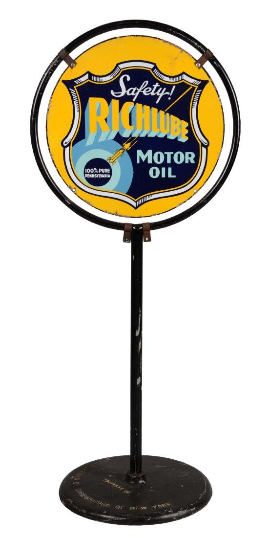 Richlube Motor Oil Porcelain Lollipop Sign with Race
