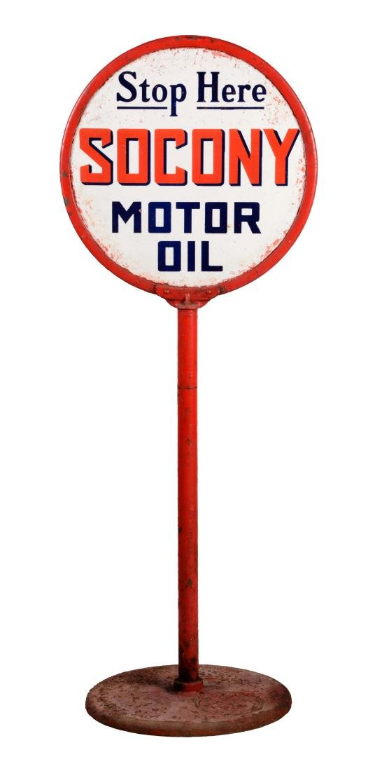 Stop Here For Socony Motor Oil Porcelain Lollipop Sign.