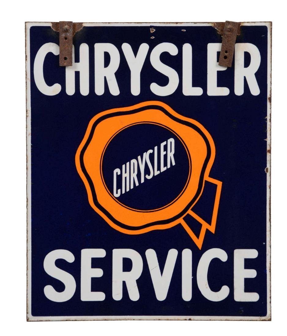 Chrysler Service Dealership Porcelain Sign.