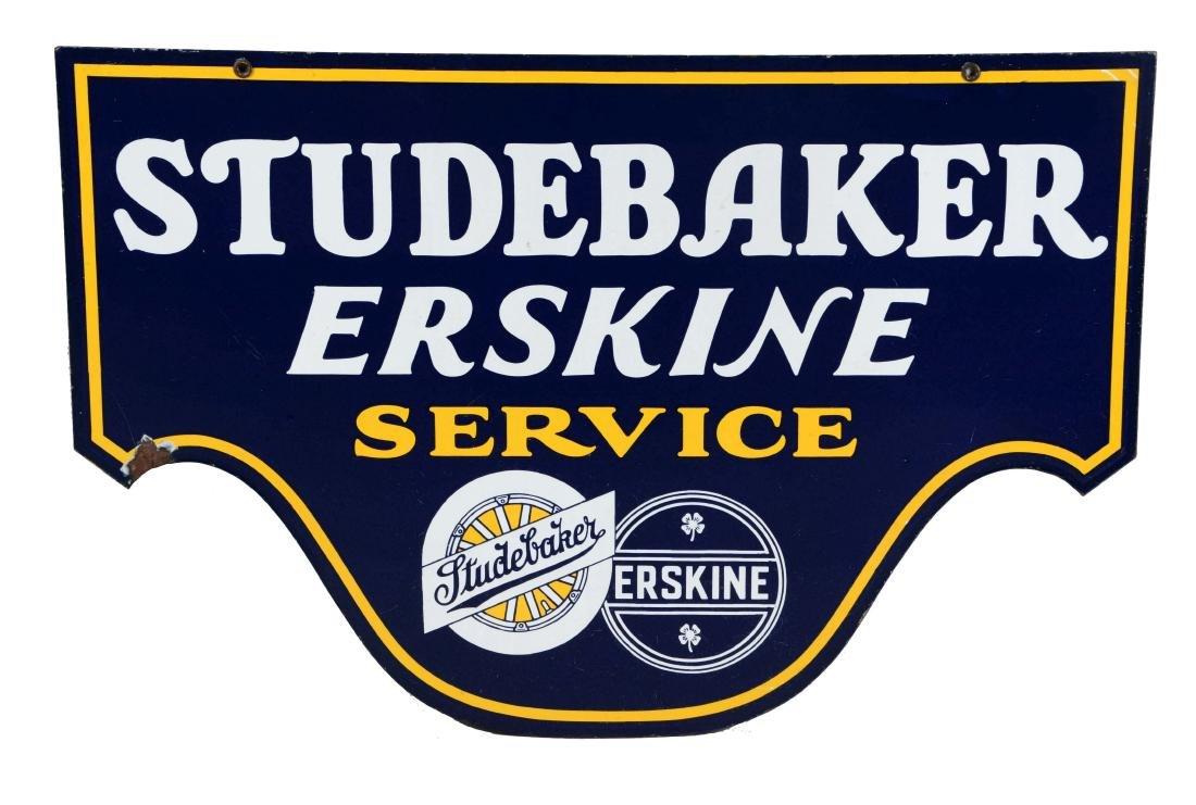 Studebaker & Erskine Service Diecut Porcelain Sign.