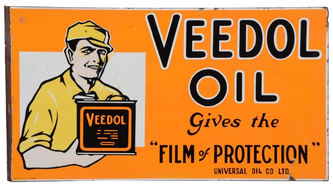 Veedol Oil Porcelain Flange Sign With Service Man