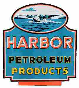Harbor Petroleum Products Porcelain Sign With Airplane