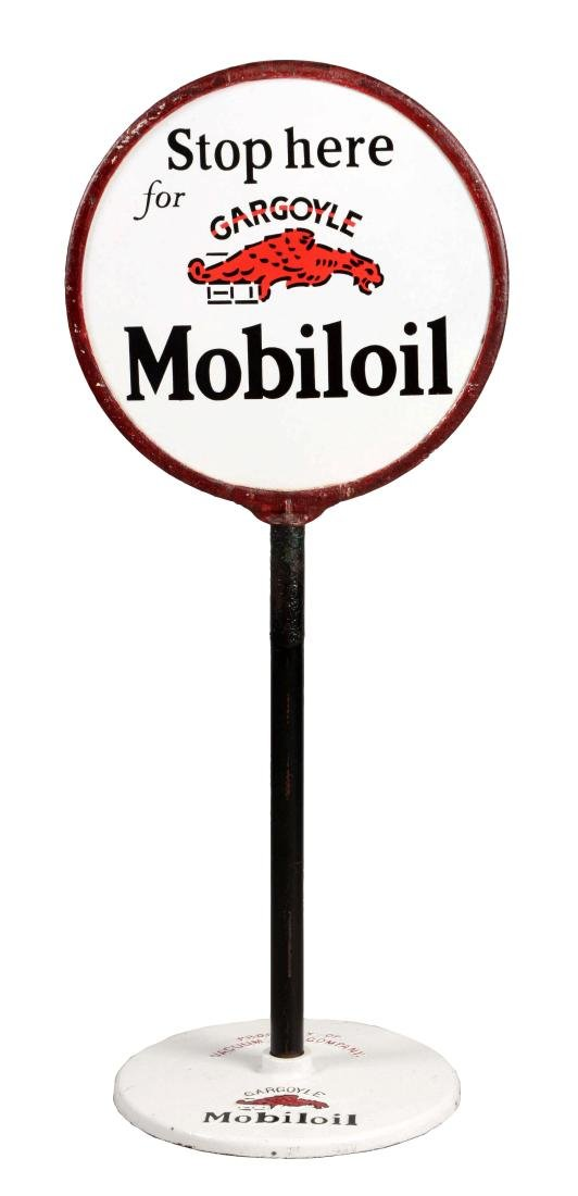 Stop Here For Gargoyle Mobiloil Porcelain Lollipop