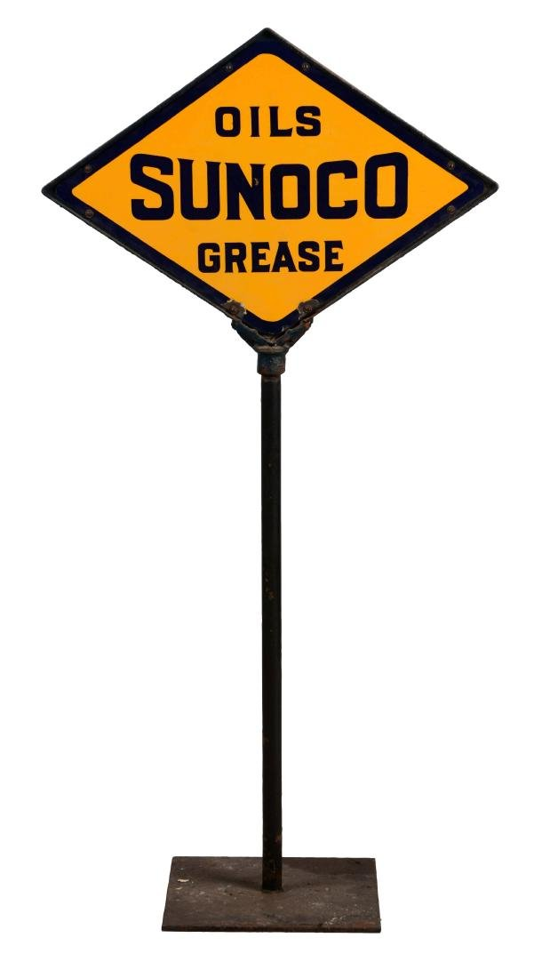 Sunoco Oils & Grease Porcelain Lollipop Sign.
