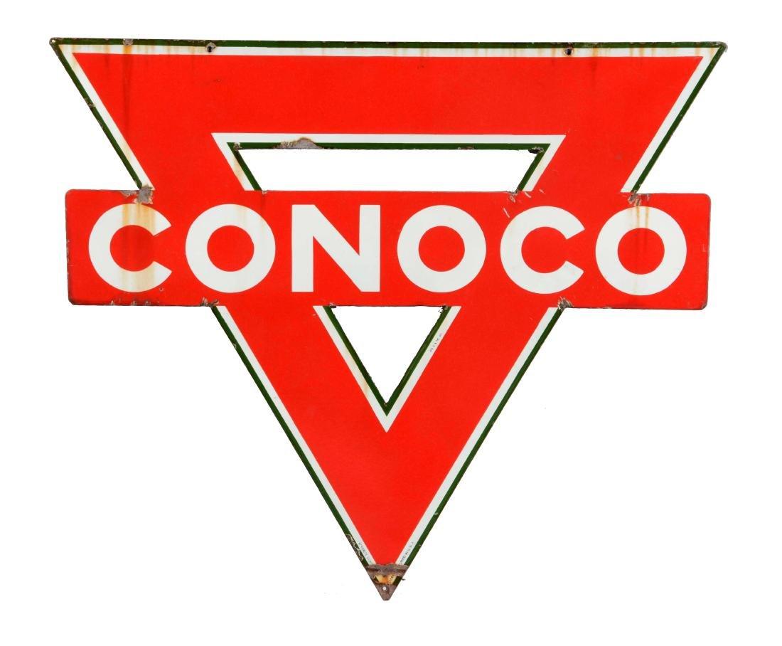 Conoco Gasoline Porcelain Service Station Sign.