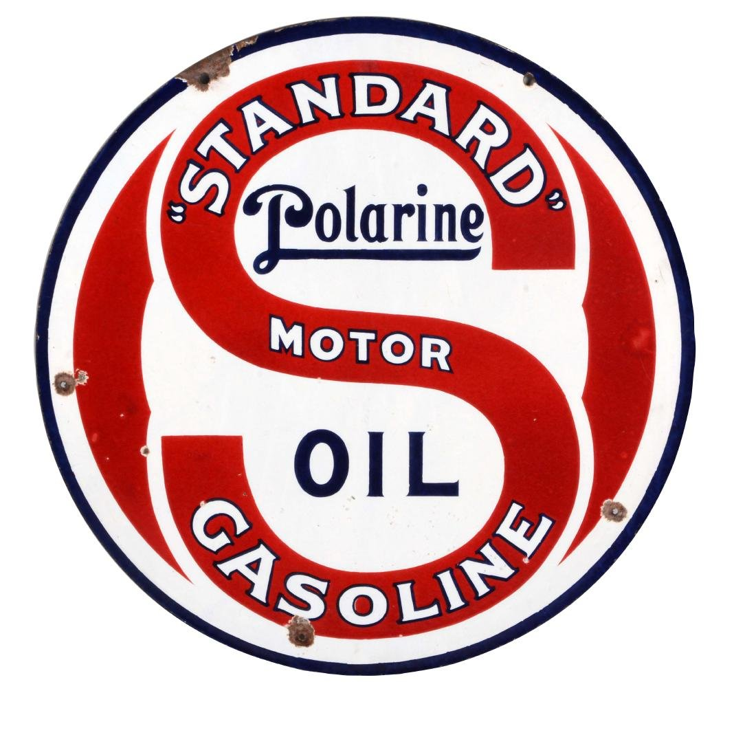 Standard Gasoline & Polarine Motor Oil Porcelain Sign.